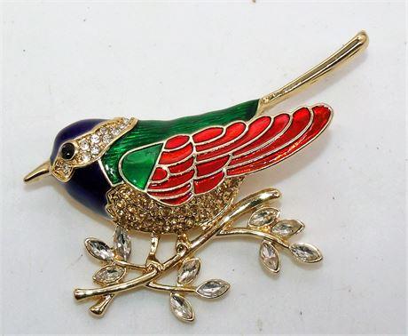 Enamel & Stone brooch bird Signed