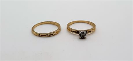 Nice 14K Gold & Diamond Ring Size 6