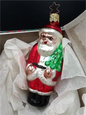 Old World Christmas Blown Glass Santa Ornament