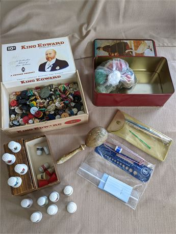 Wooden Darning Egg and Porcelain Thimbles