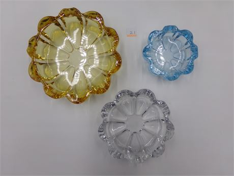 Three Glass Multi-Colored Floral Dishes