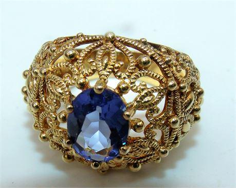Sterling Filigree Blue ring