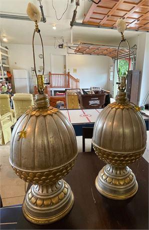 Pair of Ceramic Acorn Table Lamps