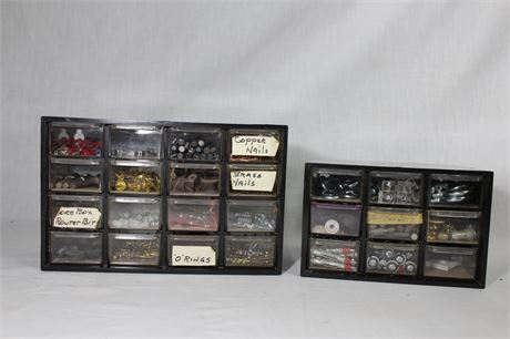 Small Parts Bin Organizers with Contents