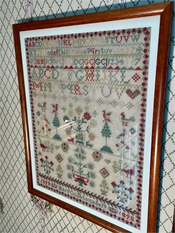 1898 Alphabet Sampler With Trees and Birds