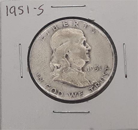 1951 S Franklin Liberty Half Dollar