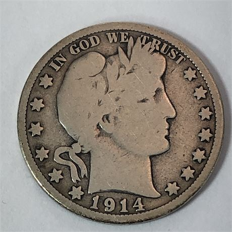 Key Date 1914 Barber Half Dollar Coin