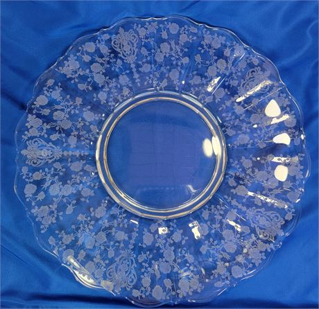 """Glass Platter with Etched Floral Pattern 14"""""""
