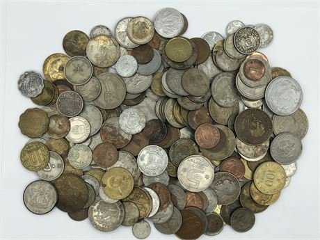 More than 200 Foreign Coins Europe Africa Asia many 1950's-1960's