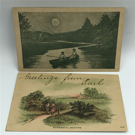 Two Antique Postcards Circa 1920 with one 1c Stamp
