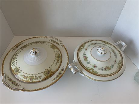 """1940's Noritake """"The Hinode""""-Japan Covered serving dish and bowl"""