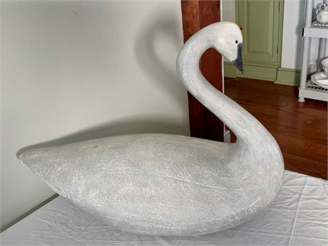 Signed Carved Wood Swan