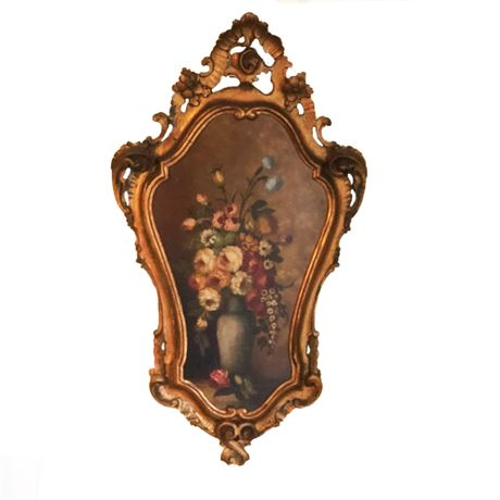 Carved Wood Frame Still Life Floral