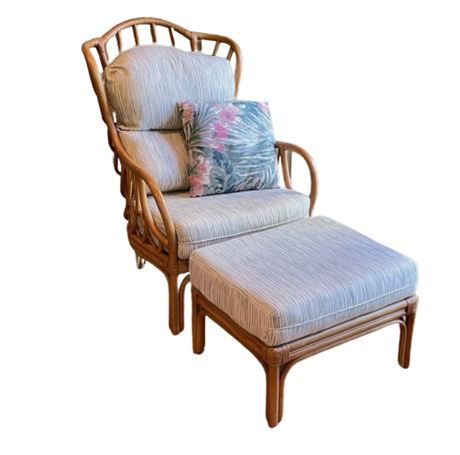 Lane Rattan Occasional Chair with Ottoman
