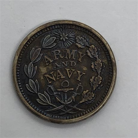 US Civil War Token 1863 Army and Navy Our Union Flag Coin
