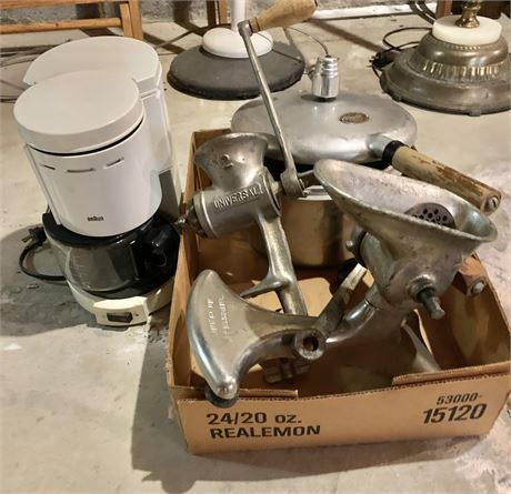Pressure cooker/hand crank meat grinder/coffee maker