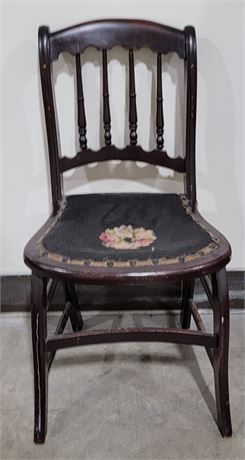 Vintage Wood chair with needlepoint seat
