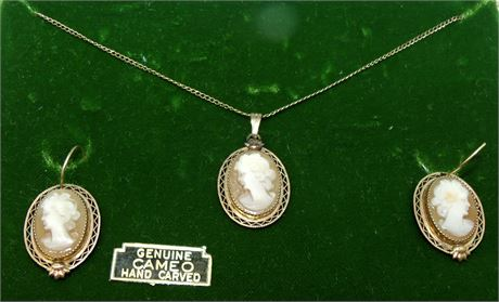 Cameo necklace earrings signed