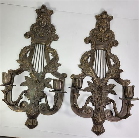 """Pair of Metal Wall Candle Sconces 18"""""""