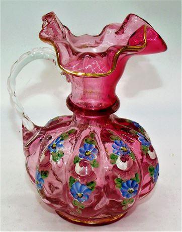 Fenton pitcher Hand Painted Melon shape