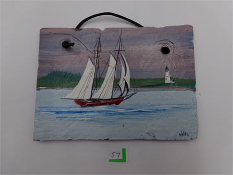 Hand Painted Sail Boat on Slate