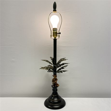Lamp with gold-tone money and green leaf palm tree base - no shade