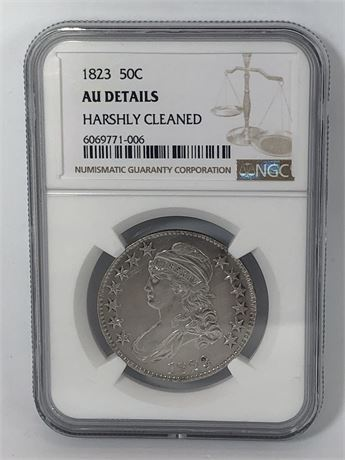 Key Date 1823 Bust Half Dollar Coin 50C NGC Graded