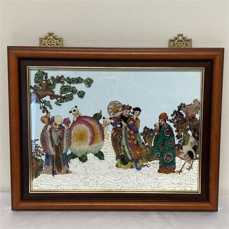 Chinese Immortals framed artwork with brass hangers