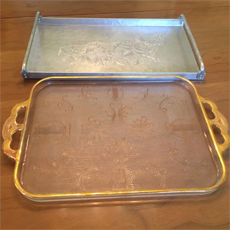 Lot of Vintage Hammered Aluminum & Glass Cocktail Trays