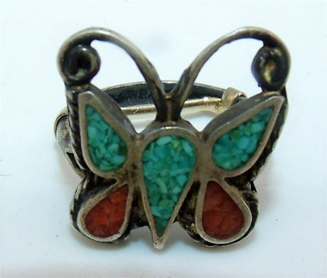 Turquoise Coral Butterfly ring