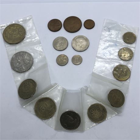 1959-1965 Foreign Coin Lot Mainly Norway and Peru Coins