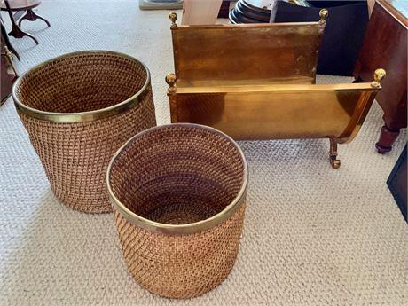 Brass Fire Log Holder and 2 Brass Trimmed Baskets