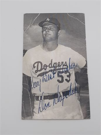 Don Drysdale Dodgers Signed 3x5 Postcard