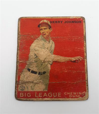 1933 Goudey Henry Johnson Boston Red Sox #14 Baseball Card