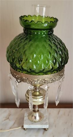 Vintage Green Lamp with Crystal Prism, and Marble Base