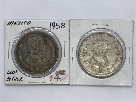 1958 and 1962 Silver Mexican 1 Peso Coin Lot