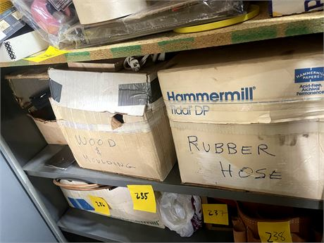 Shelf Cleanout 4 - Box of Rubber Hose/Wood and Moulding