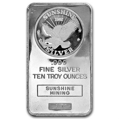 10 oz. Silver Bar - Random Brand - Secondary Market - .9999 Fine