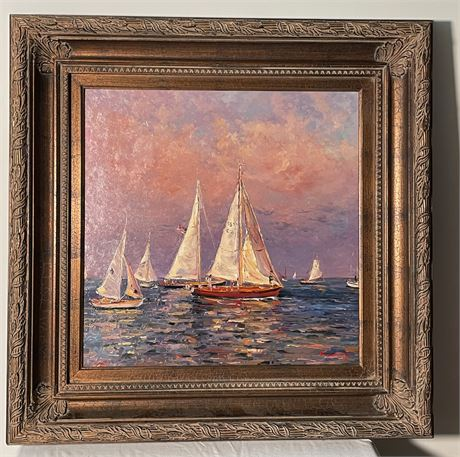 """20th C. """"Evening Sail Boats"""" Painting by F. Sammy"""