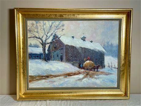 "William J. Maloney ""Winter Hay"" Painting"