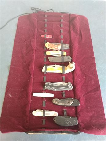 Lot of 10 knives and case