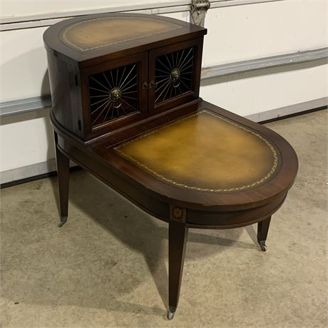 1940's Regency style mahogany leather top two Tier nightstands side table