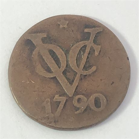 Colonial America 1790 New York Penny Dutch Netherlands VOC Duit Coin