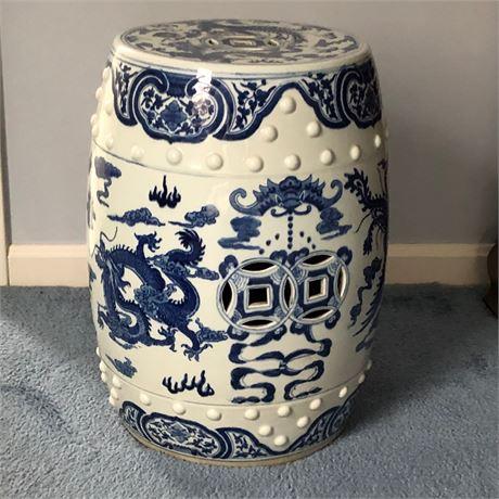 Ceramic White & Blue Garden Stool