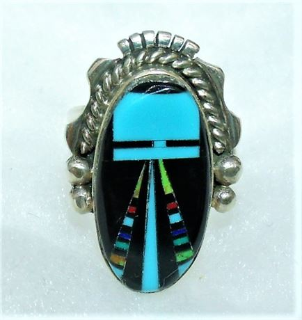 Sterling Jet Turquoise etc Inlay ring