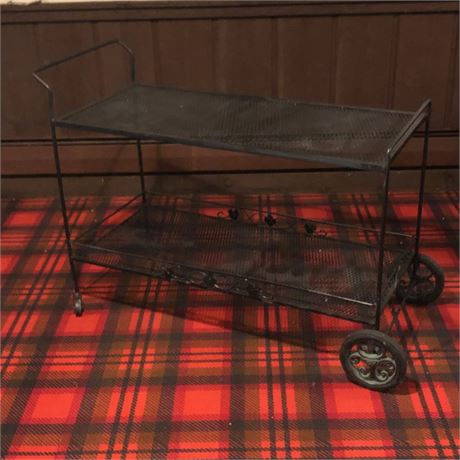 Vintage Iron Outdoor Wheeled Serving Cart