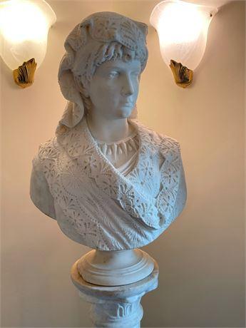Marble Female Bust on Pedestal