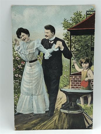 Antique 1908 German Illustrated Postcard & 1c Stamp Couple and Baby