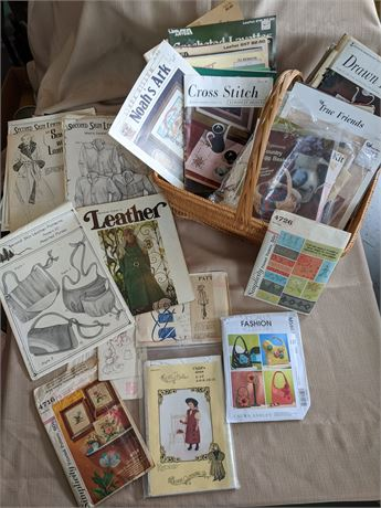 Assorted Sewing Patterns with Basket