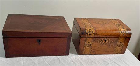 Antique Burlwood Inlaid Sewing Box and Mahogany Sewing Box